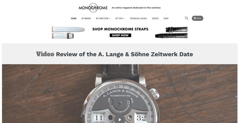 Monochrome online magazine homepage