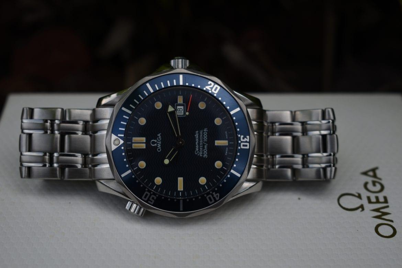 omega watch, blue dial, omega seamaster