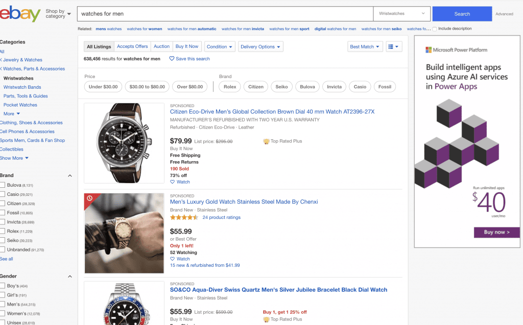 Ebay page, Ebay for selling watches