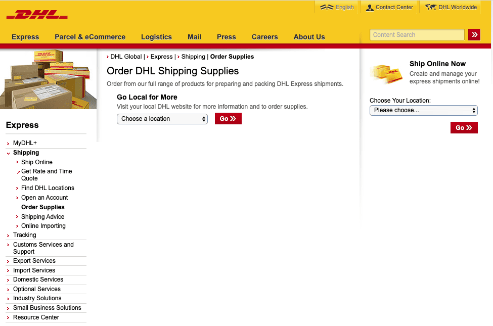 Shipping Supplies, order form, dhl