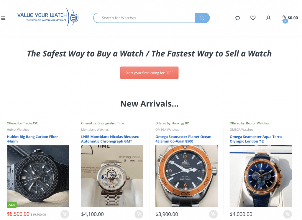 Value Your Watch marketplace, watches for sale