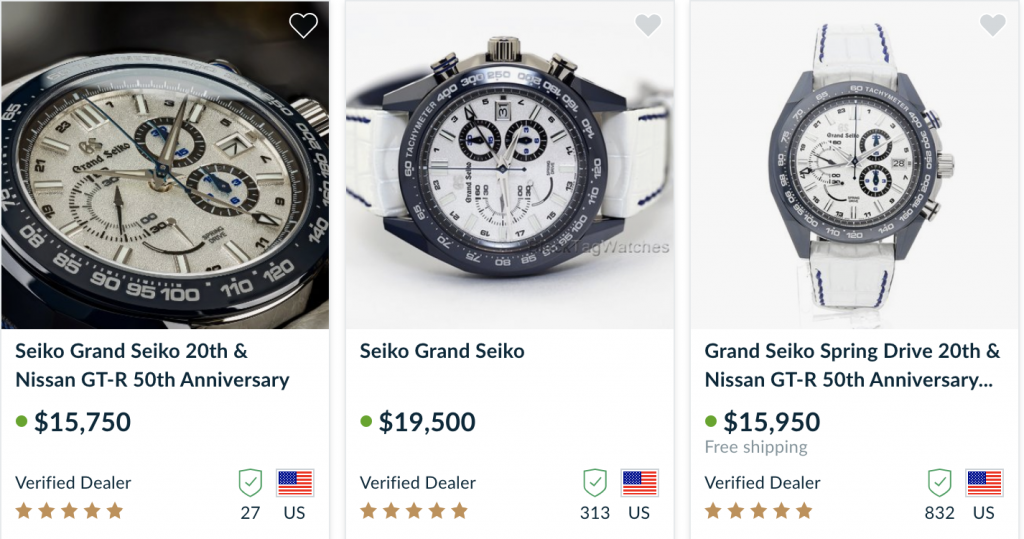 3 watches for sale Nissan GT-R Grand Seiko