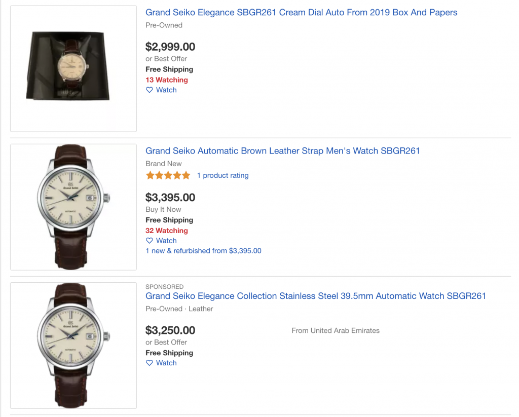 List of watches for sale