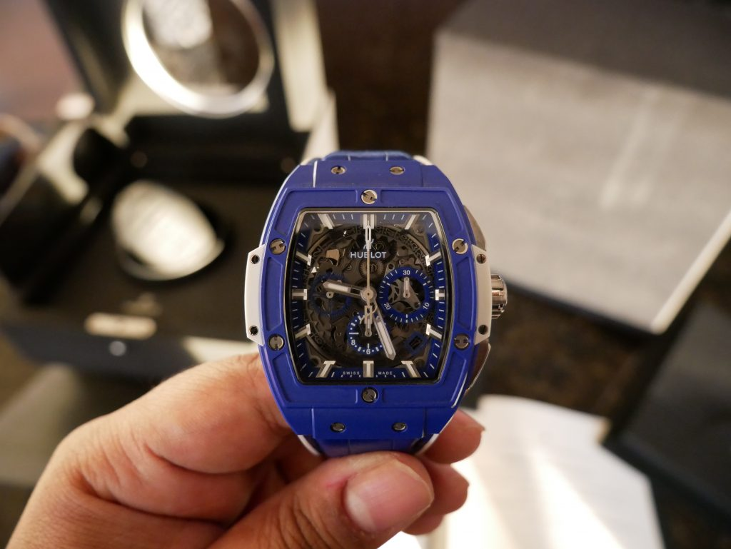 hublot, blue and white hublot