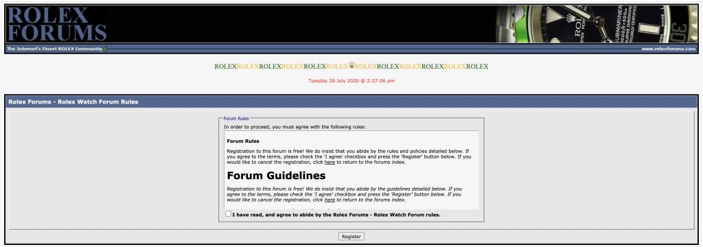 Rolex Forums, Rolex forum register