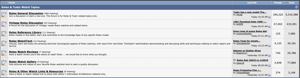 rolex forums topics