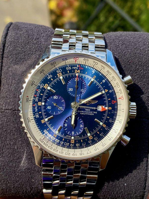 Breitling Navitimer World GMT Blue Dial A24322