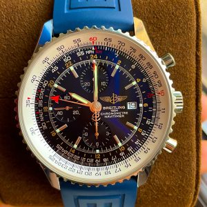 Breitling Navitimer World GMT 46mm #A24322, Blue Rubber strap, Box, EXTRA Straps