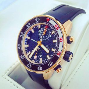 IWC Aquatimer Rose Gold Chronograph Diver Sport 44mm Black Dial IW376905