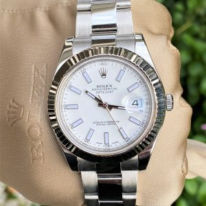 Rolex Datejust II 41mm Fluted Bezel White Stick Dial 116334 Boxes/Papers