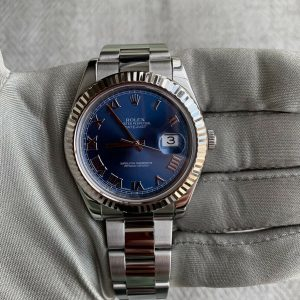 Rolex Datejust 41 Blue Roman Dial White Gold Fluted Bezel Complete Set 116334