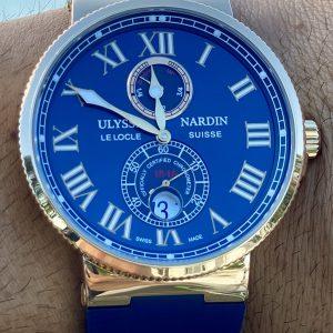 Ulysse Nardin Maxi Marine Chronometer 18k Rose Gold 43mm Blue Rubber 266-67/43