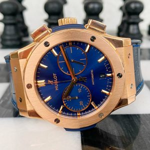Hublot Classic Fusion Blue Chronograph 18k Rose Gold Watch 521.OX.7180.LR Box
