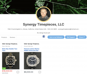 watch seller synergy timpieces,llc