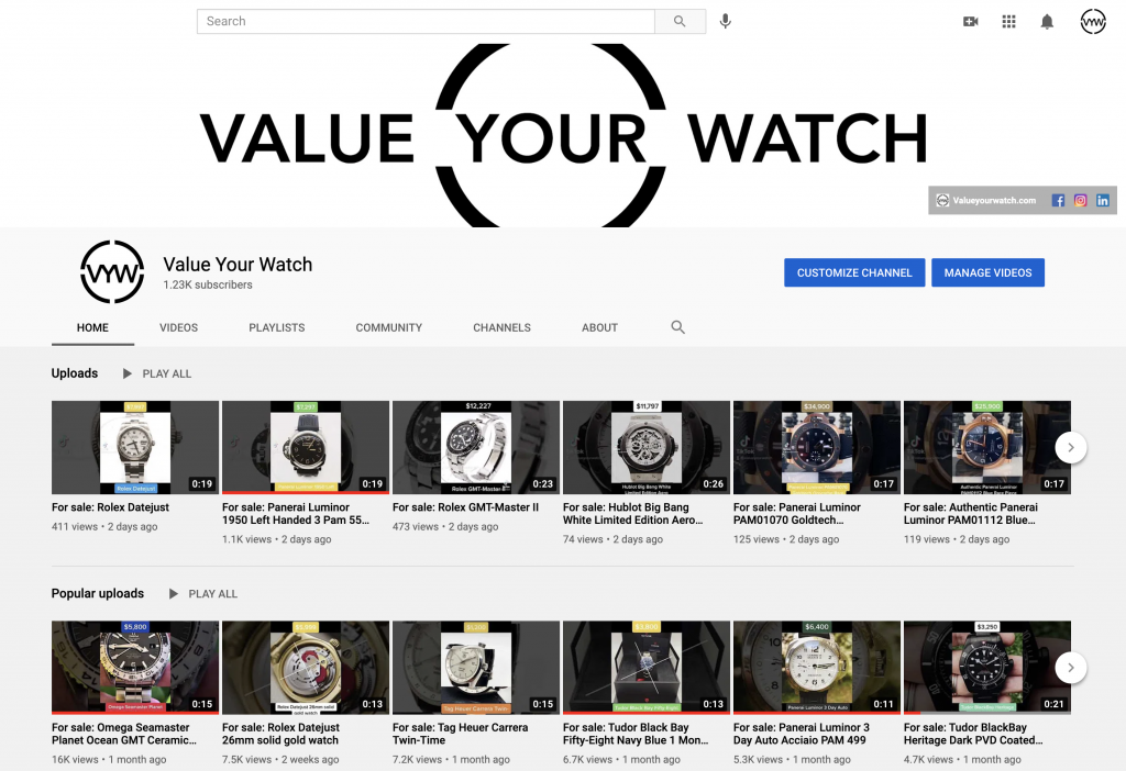 Value Your Watch marketplace YouTube Channel